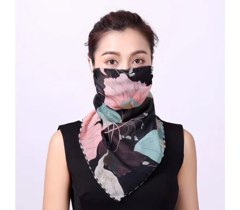 Peach 0001 Black Lotus Scarf Mask