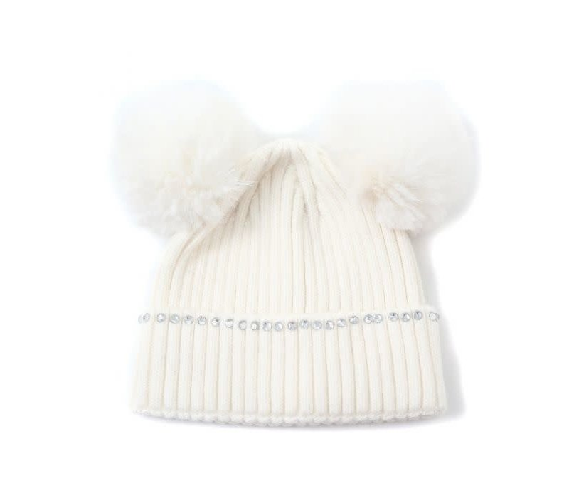 Peach SD66 Cream double POM Pom Hat