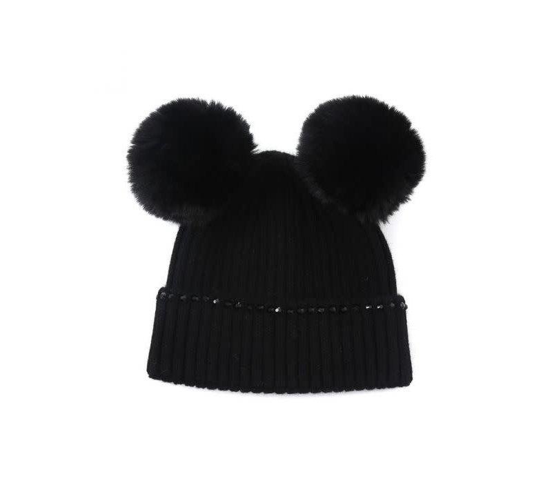 Peach SD66 Black double POM Pom Hat