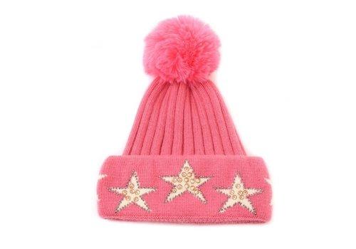 Peach Accessories Peach SD54 Pink Diamonte Stars POM Hat
