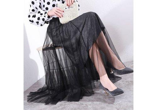 Peach Accessories Peach SKIR001 Black Tulle Skirt w/ Silver underlay