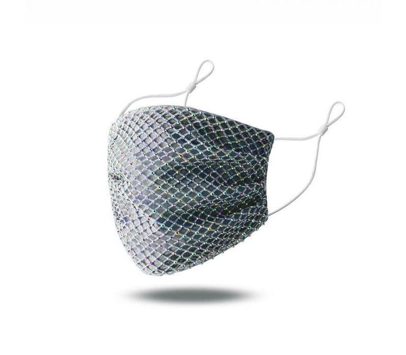 Peach 0011 Grey Diamonte face mask