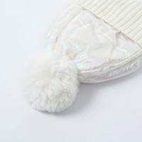 Peach SD57 White shiny Pom Pom Hat