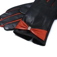 Peach HA1944 Orange bow Leather Gloves