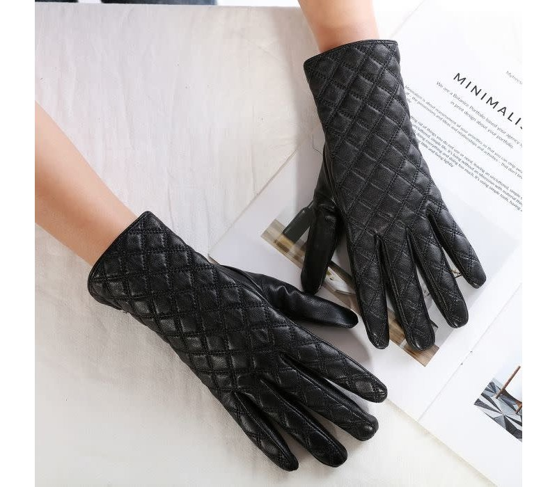 Peach HA1918 Quilted Leather Gloves