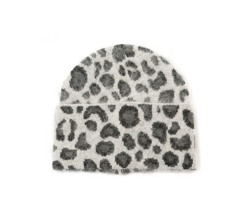 Peach SD51 Grey Leopard Print Beanie