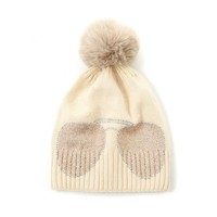 Peach SD61 Diamonte Shades Cream Hat