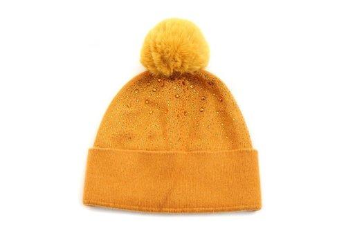 Peach Accessories Peach SD42 Mustard Diamonte Pom Hat