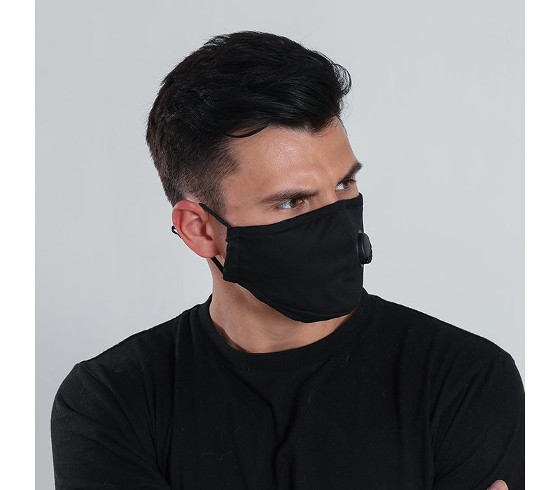 Gessy Black cotton mask with valve
