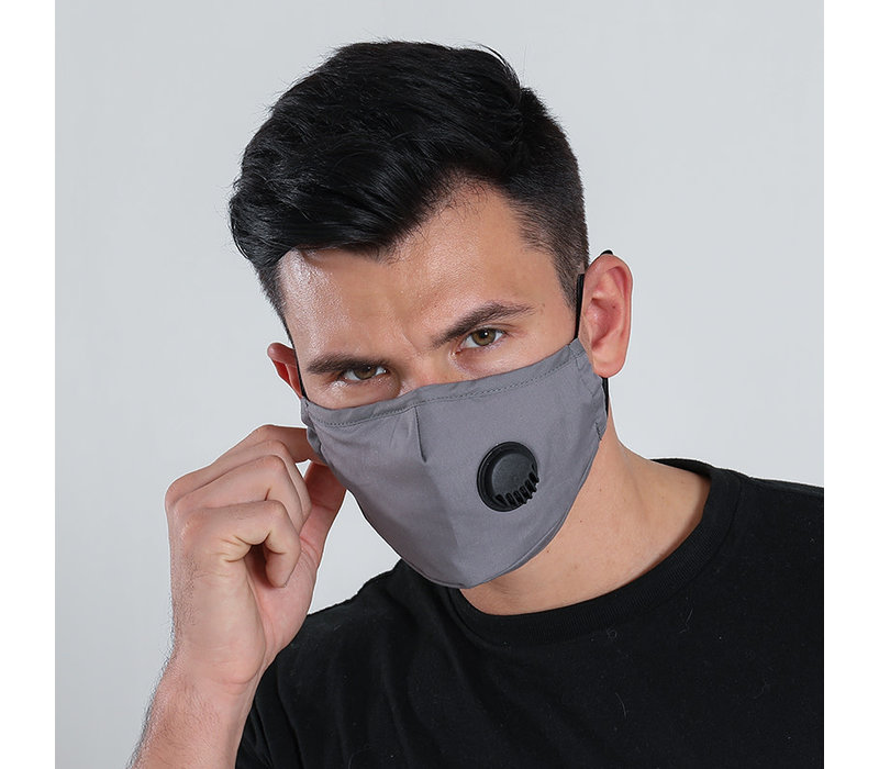 Gessy Grey cotton mask with valve