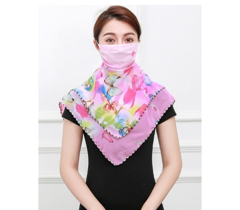GESSY Pink Butterfly scarf mask