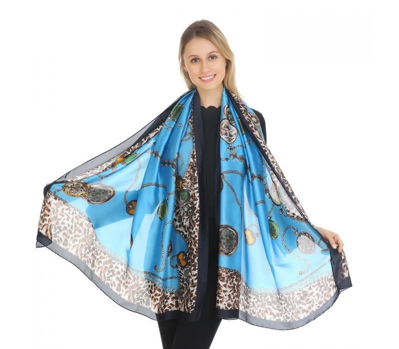 Peach TT39 Blue Leopard print Silk Scarf