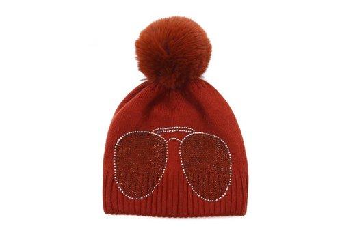 Peach Accessories Peach SD61 Diamonte Shades Rust Hat