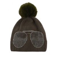 Peach SD61 Diamonte Shades Olive Hat