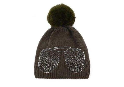 Peach Accessories Peach SD61 Diamonte Shades Olive Hat