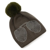 Peach SD61 Diamonte Shades Olive Hat