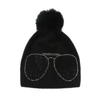 Peach SD61 Diamonte Shades Black Hat