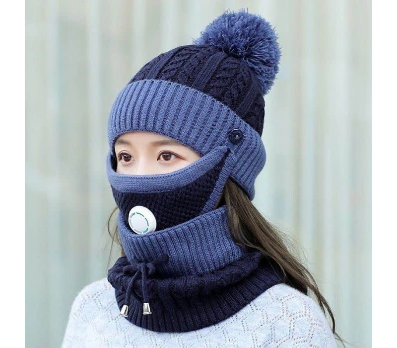Peach SD80 Hat Snood Mask Set Navy