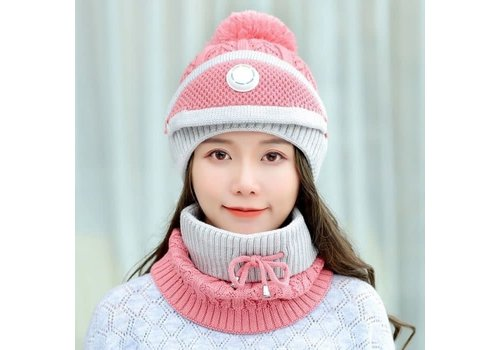 Peach Accessories Peach SD80 Hat Snood Mask Set in Pink
