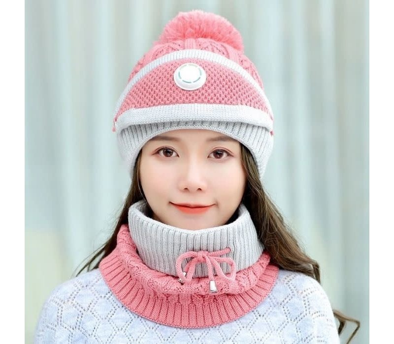 Peach SD80 Hat Snood Mask Set in Pink