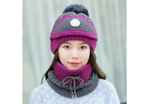Peach Accessories Peach SD80 Hat Snood Mask Set Grape
