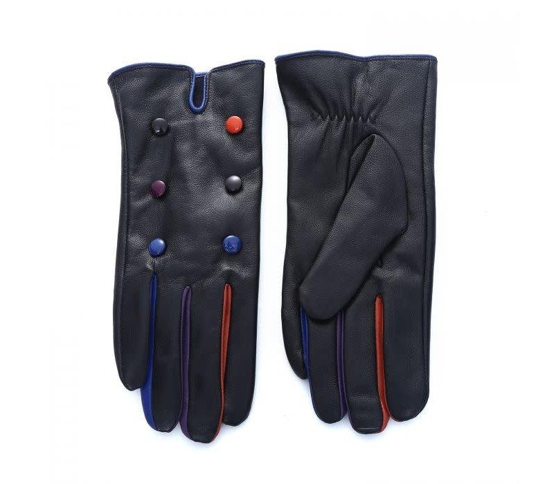 Peach HI933 Black multi Leather gloves