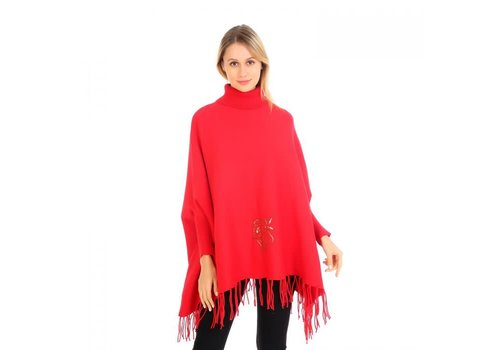 Peach Accessories Peach HUA041 Poncho with Flowers Red