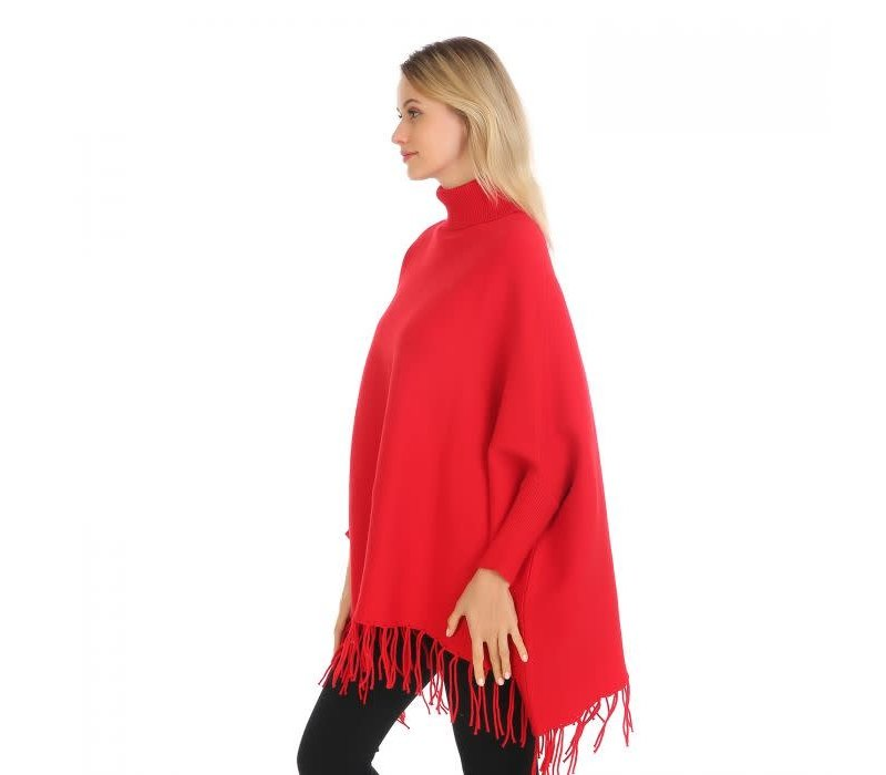 Peach HUA041 Poncho with Flowers Red