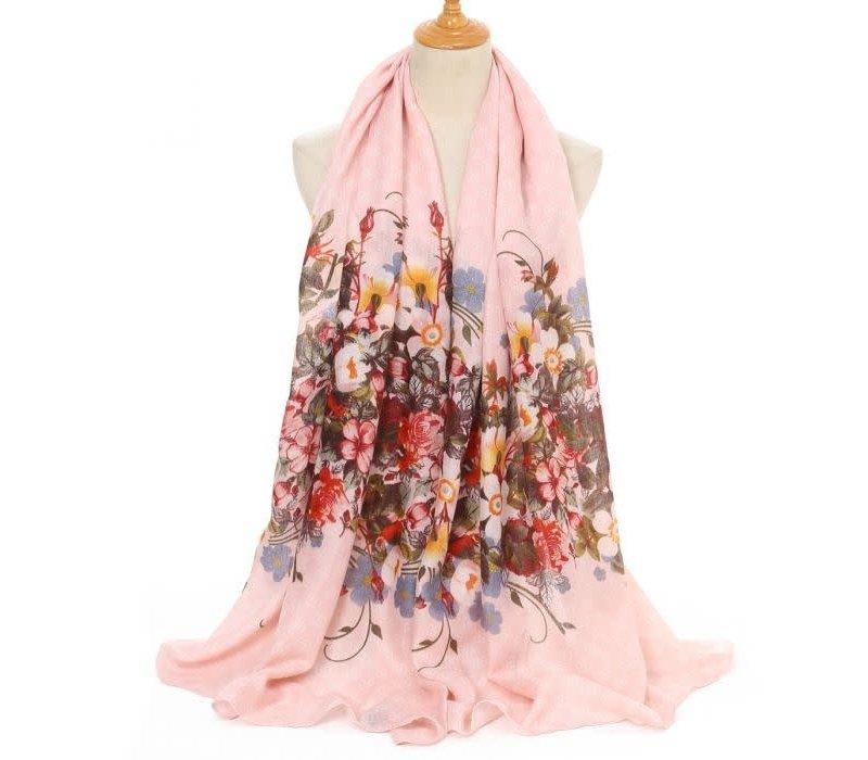 Peach TT201 CC Floral print Pink Scarf