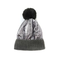 Peach SD57 Grey shiny Pom Pom Hat