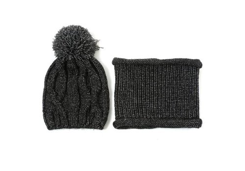 Peach Accessories Peach DPSD73 Grey Hat & Snood Set