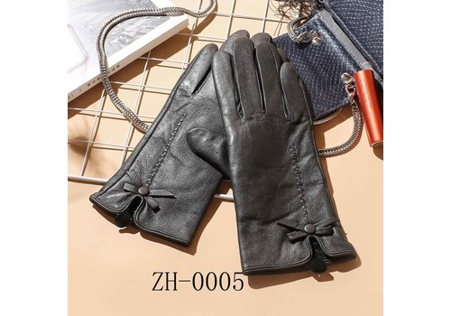 Footprints ZH-005 Leather Gloves with bow detail