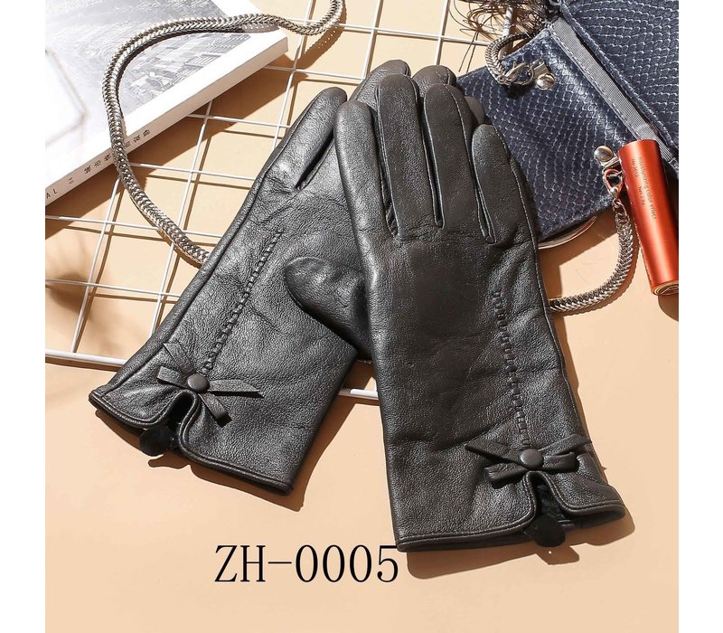 ZH-005 Leather Gloves with bow detail
