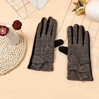 ZH0022 Tartan Gloves  with Bow