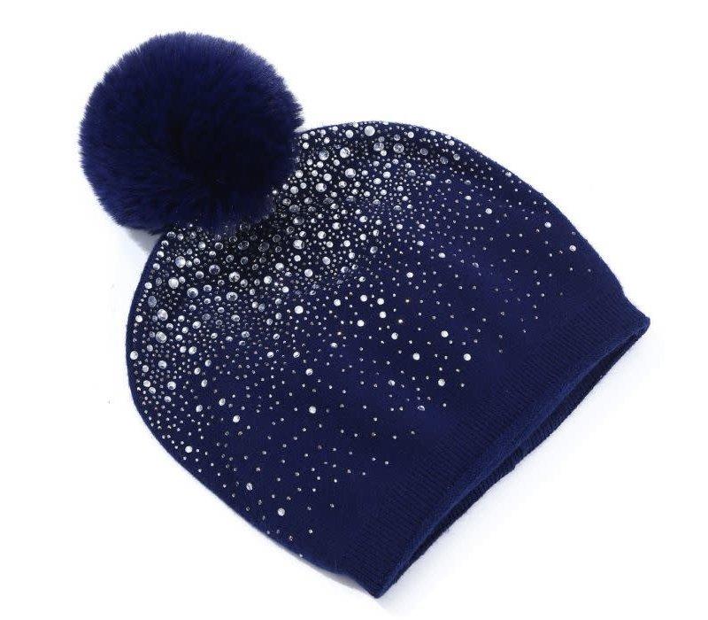Peach SD04 Navy Diamonte pom pom Hat