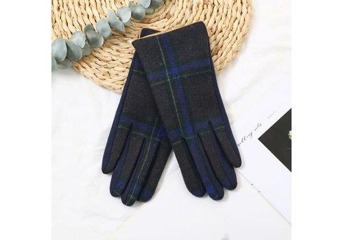 Peach Accessories Peach HA1948 Navy Tartan Gloves