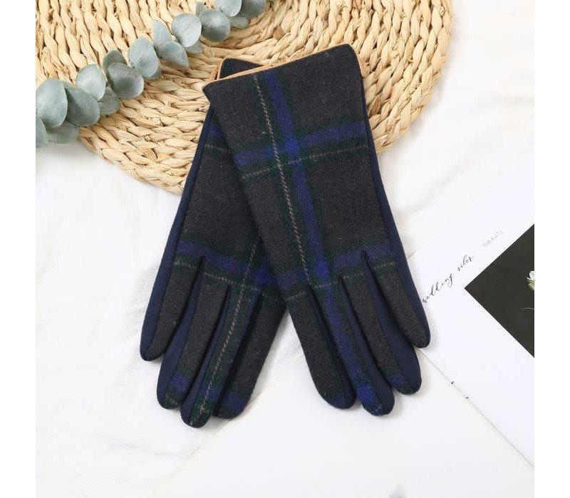 Peach HA1948 Navy Tartan Gloves
