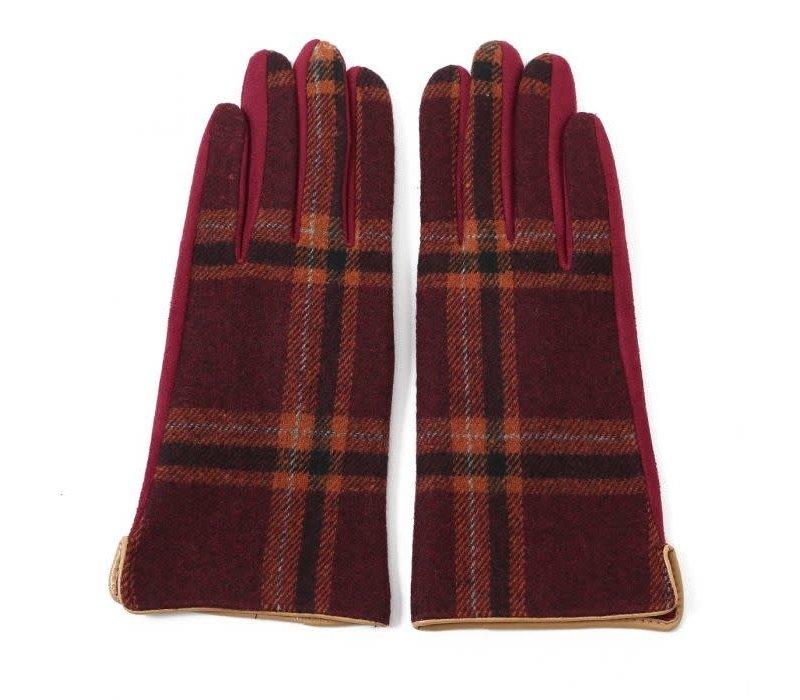Peach HA1948 Burgundy Tartan Gloves