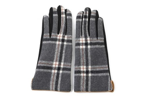 Peach Accessories Peach HA1948 Black Tartan Gloves