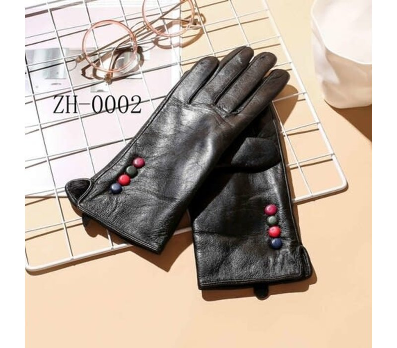ZH002 Leather multi button Gloves