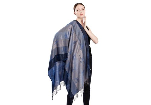 Footprints 2219 Bee Print Pashmina Scarf in Navy