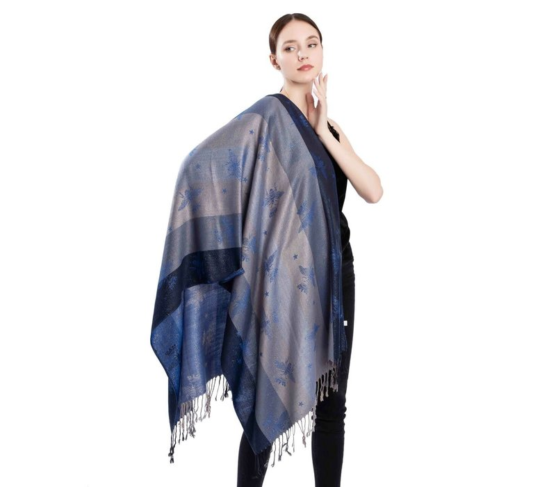 2219 Bee Print Pashmina Scarf in Navy