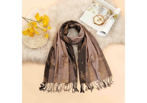 Footprints 2219 Bee Print Pashmina Scarf in Gold/Black