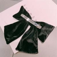 Peach HA155 Black velvet hair bow