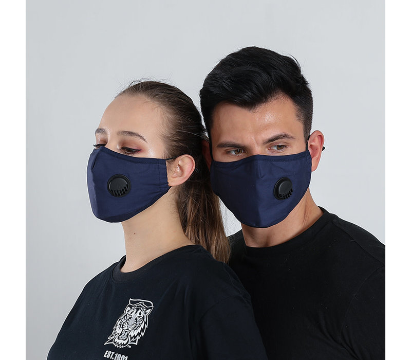 GESSY Navy cotton mask with valve