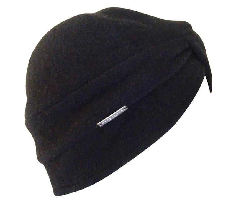 Seeberger 018423-10 Black wool Turban