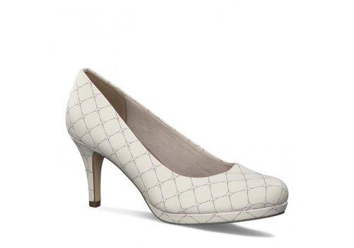 Tamaris S/S Tamaris 22444 Cream Logo 3' Heel Shoe
