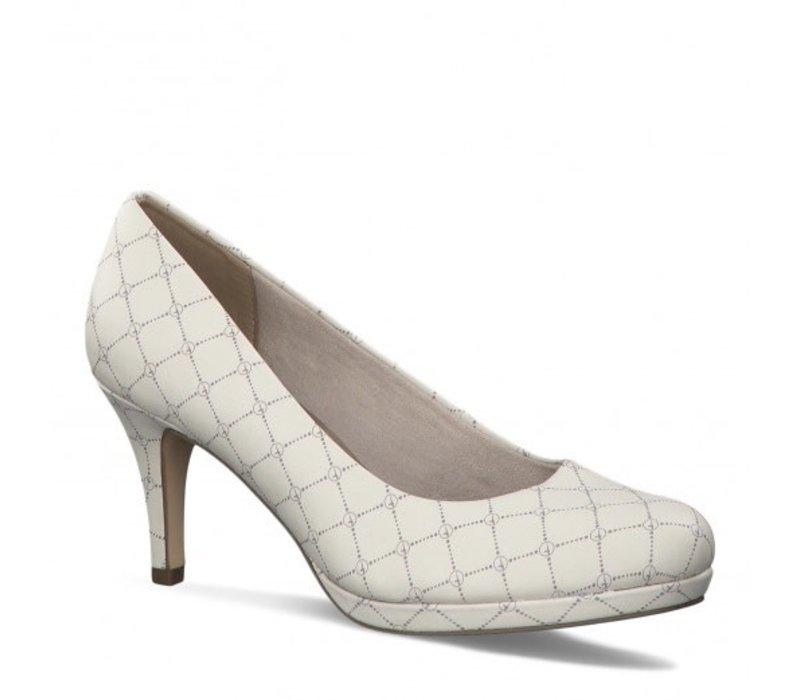 Tamaris 22444 Cream Logo 3' Heel Shoe