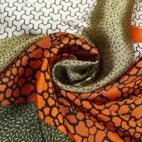 Peach F710 Mixed Leopard square scarf