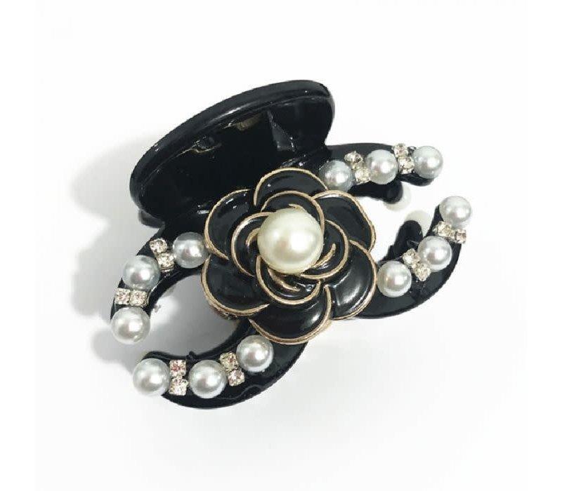 HA165 Black and pearl CC Hair Claw
